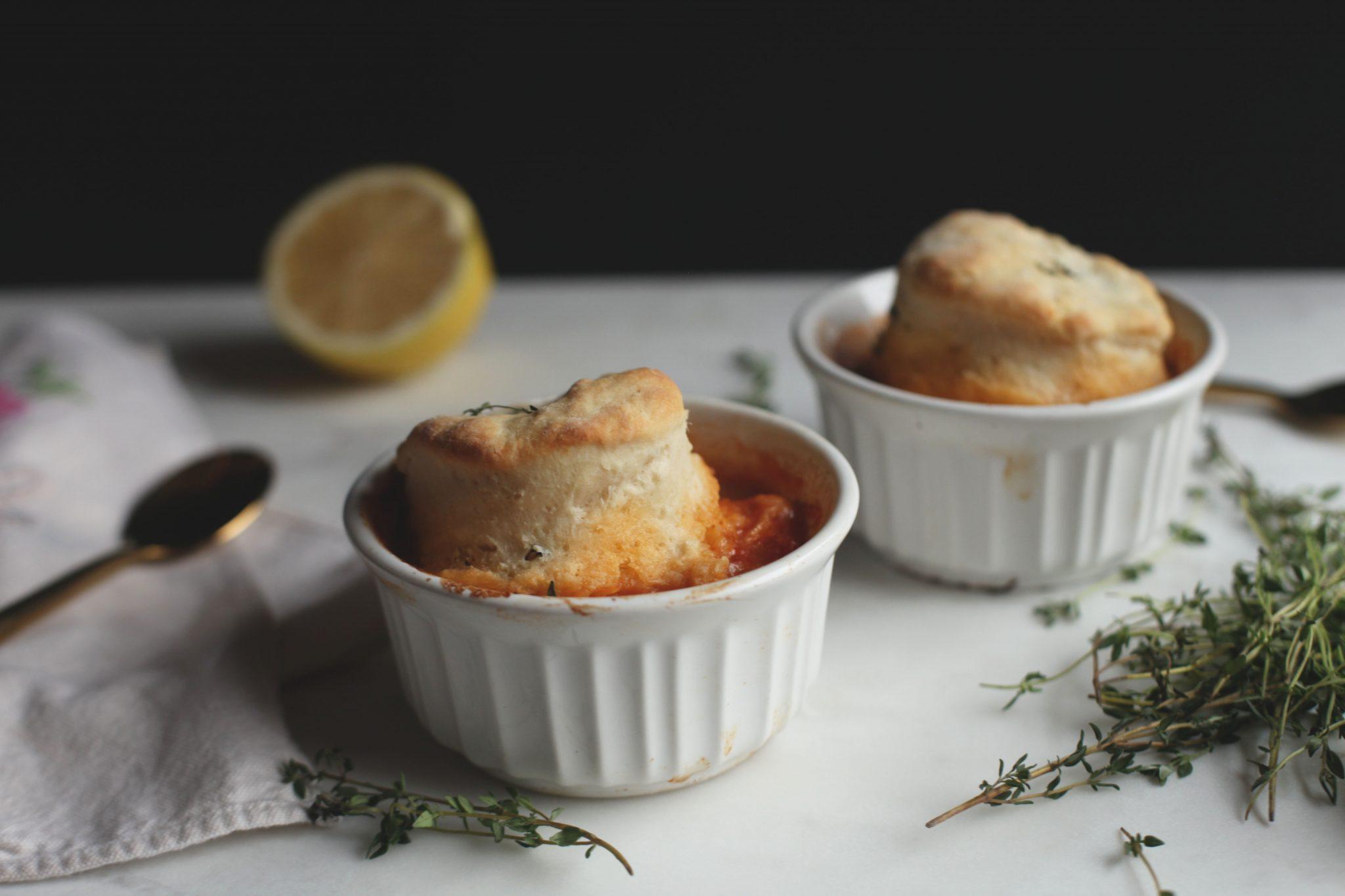 Chicken Stew with Goat Cheese Thyme Biscuits - Tastemaker Blog