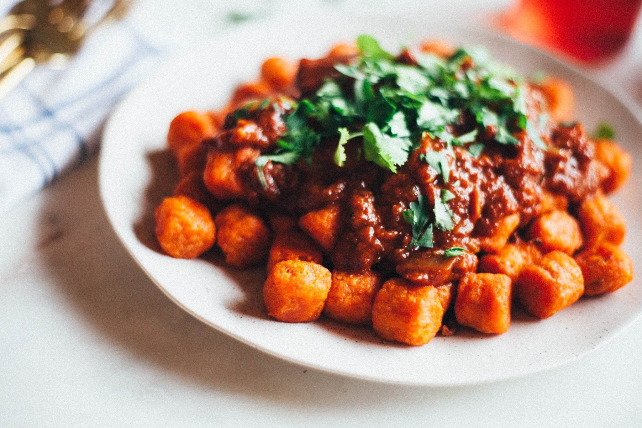 Curry Poutine with Sweet Potato Tots - Tastemaker Blog