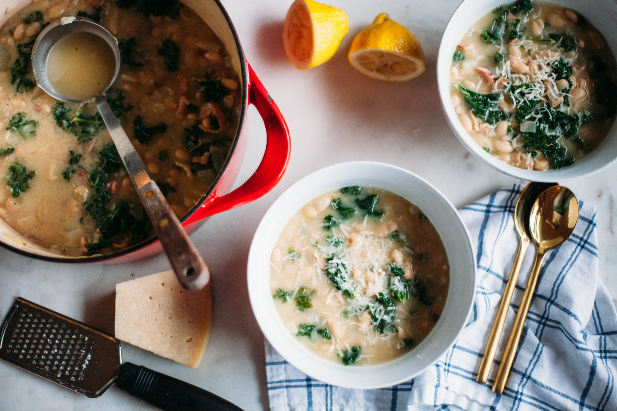 White Bean and Kale Soup with Bacon and Eggs - Tastemaker Blog