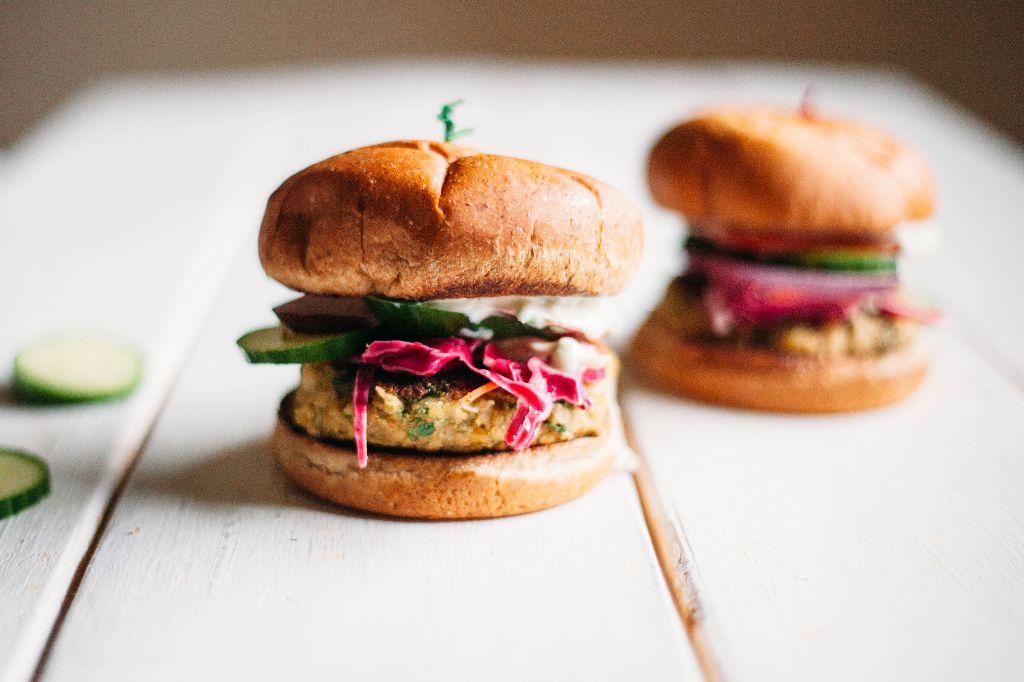 Vegan Falafel Burgers with Dairy-Free Tzatziki Sauce - Tastemaker Blog