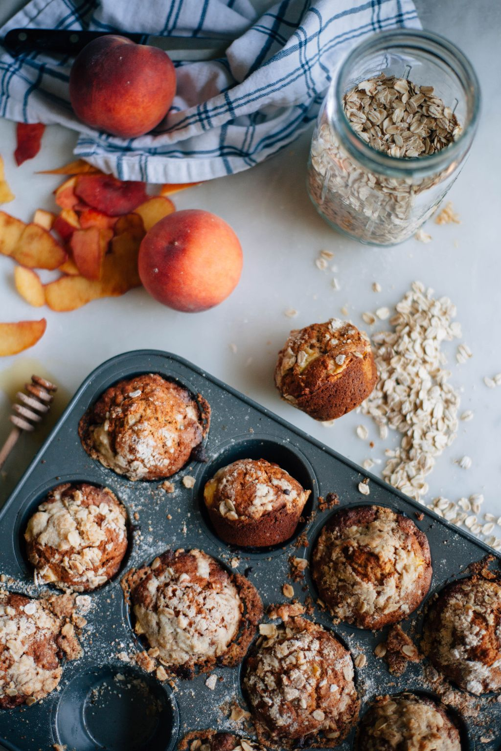 Peach Honey Oat Muffins - Tastemaker Blog