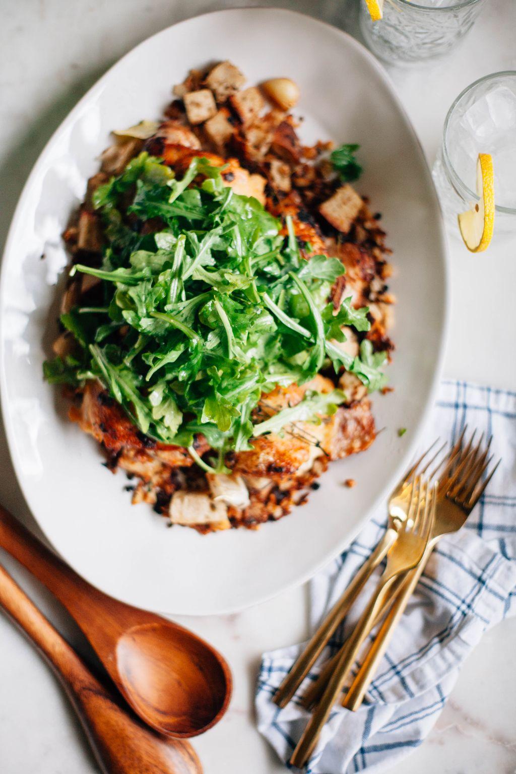 Crispy Chicken Thighs with Bread Salad - Tastemaker Blog
