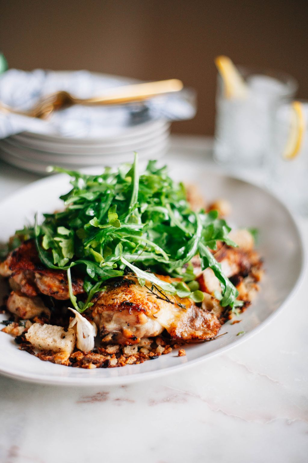 Crispy Chicken Thighs with Bread Salad - Tastemaker Blog
