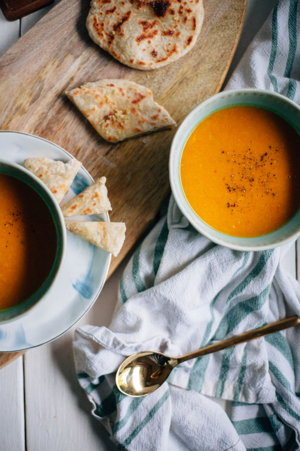 Curried Carrot Ginger Soup with Garlic Naan - Tastemaker Blog