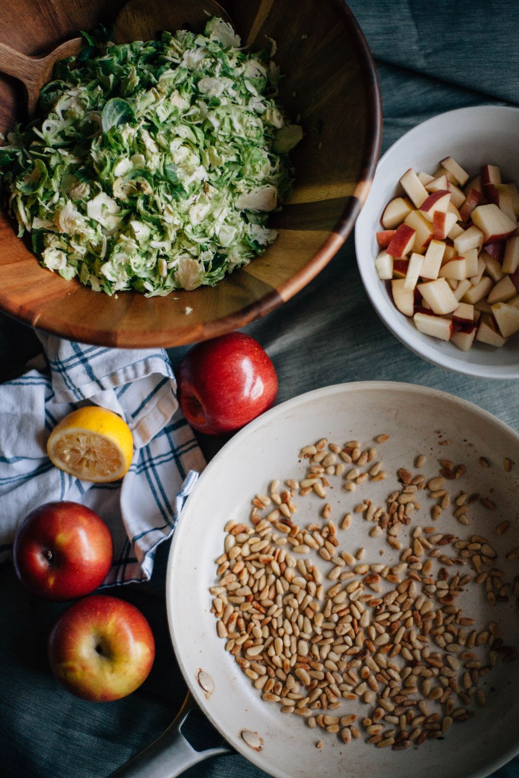 Brussel Sprout Salad with Apples and Toasted Pine Nuts- Tastemaker Blog