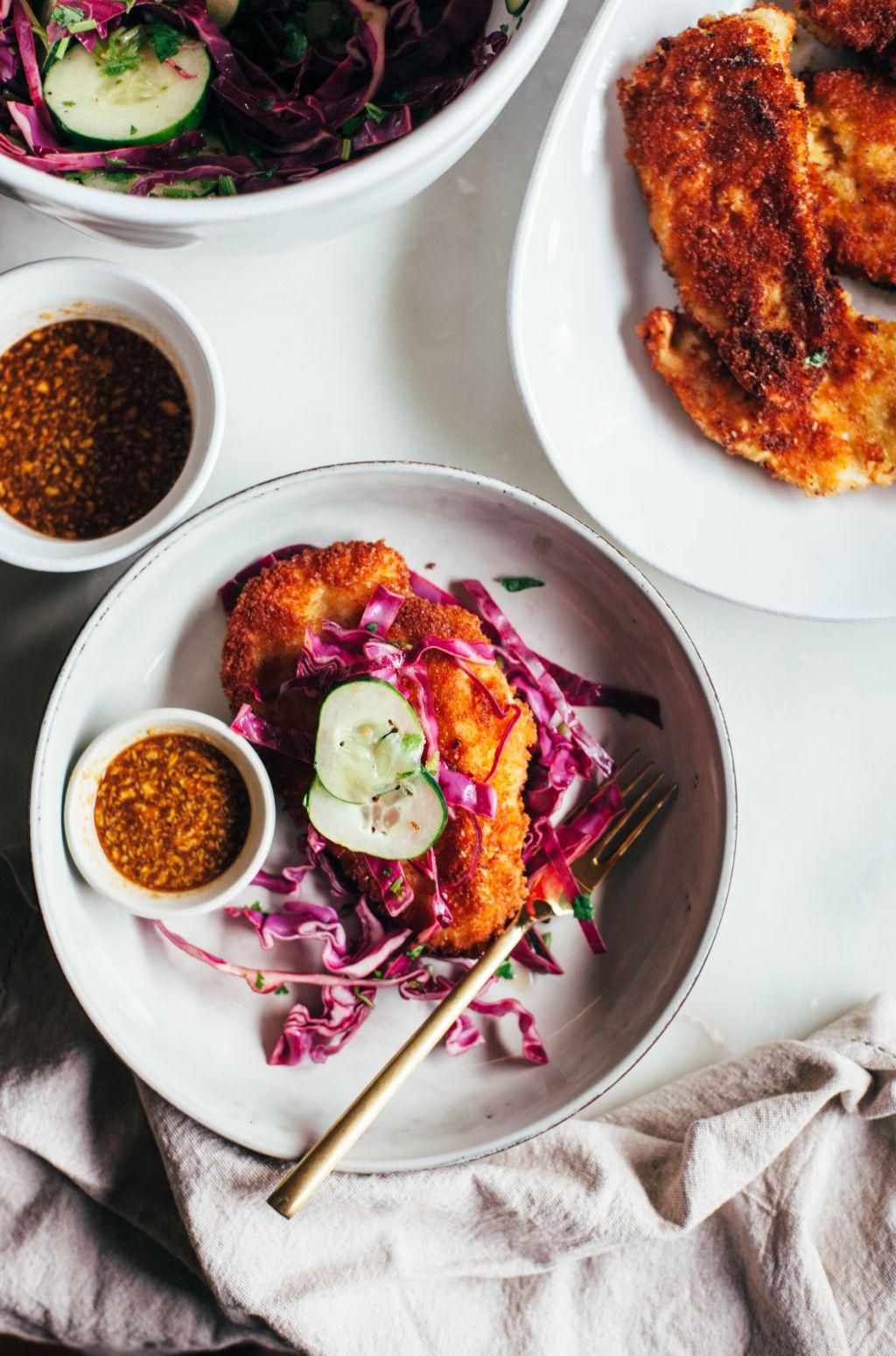 Chicken Katsu with Cabbage Slaw - Tastemaker Blog