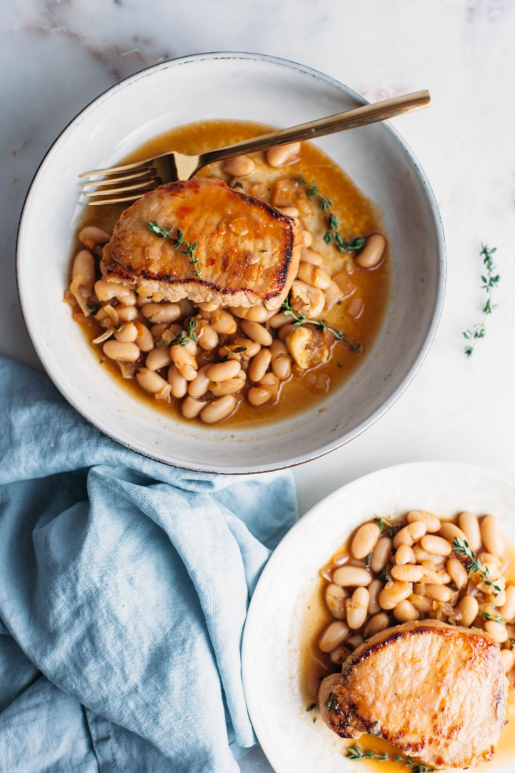 Jammy Pork Chops with White Beans and Fresh Thyme - Tastemaker Blog