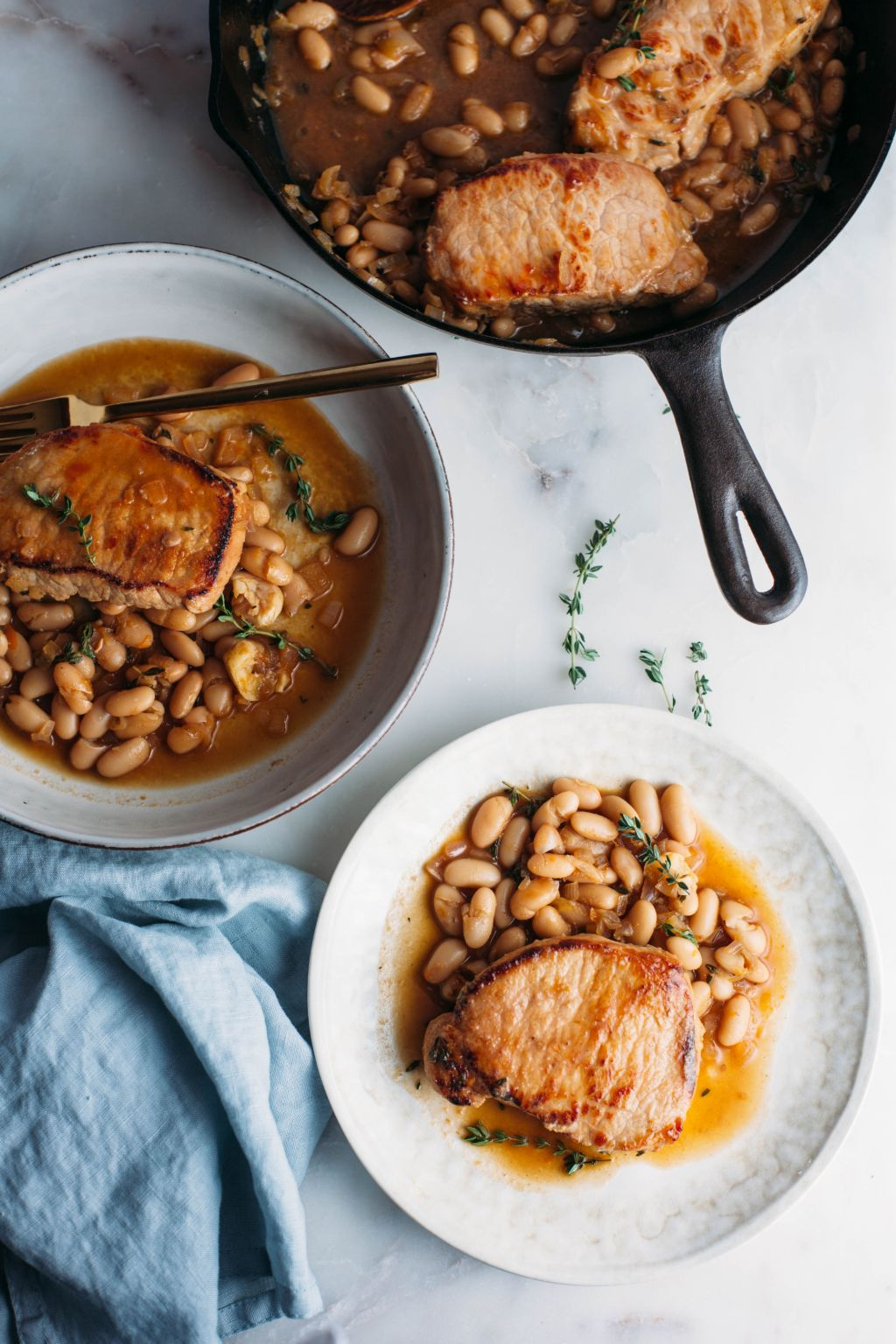 Jammy Pork Chops with White Beans and Fresh Thyme - Tastemaker Blog