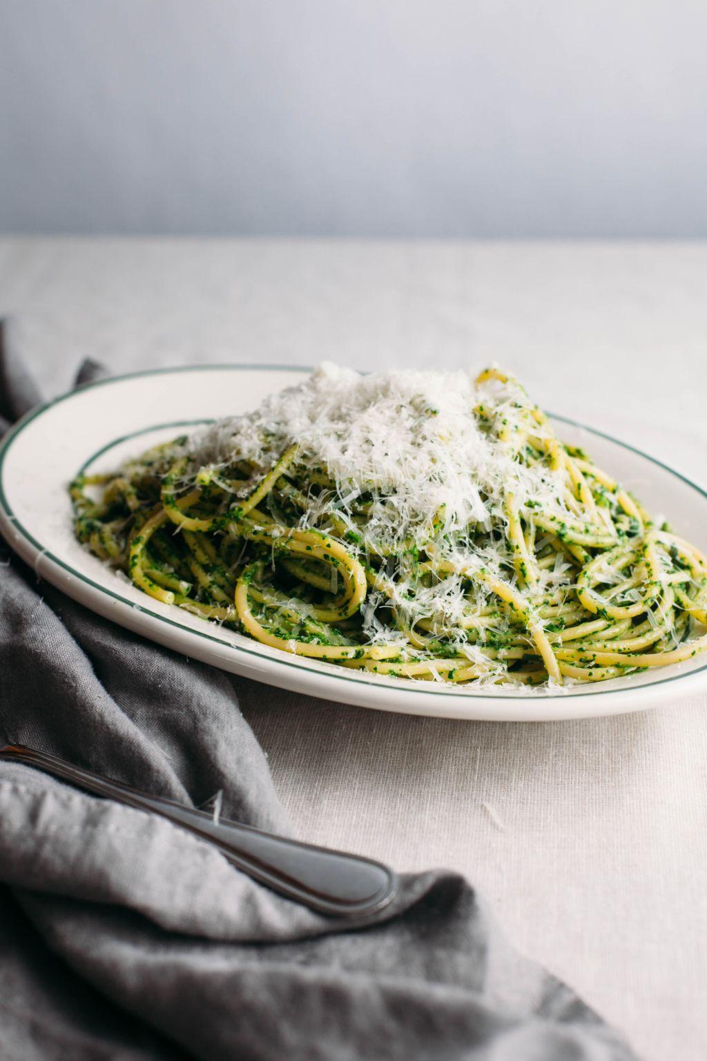 Arugula Pesto Bucatini - Tastemaker Blog