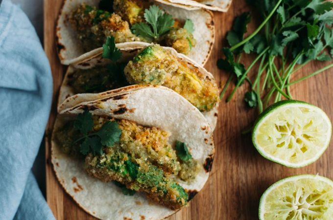 Fried Avocado Tacos with Homemade Salsa Verde - Tastemaker Blog