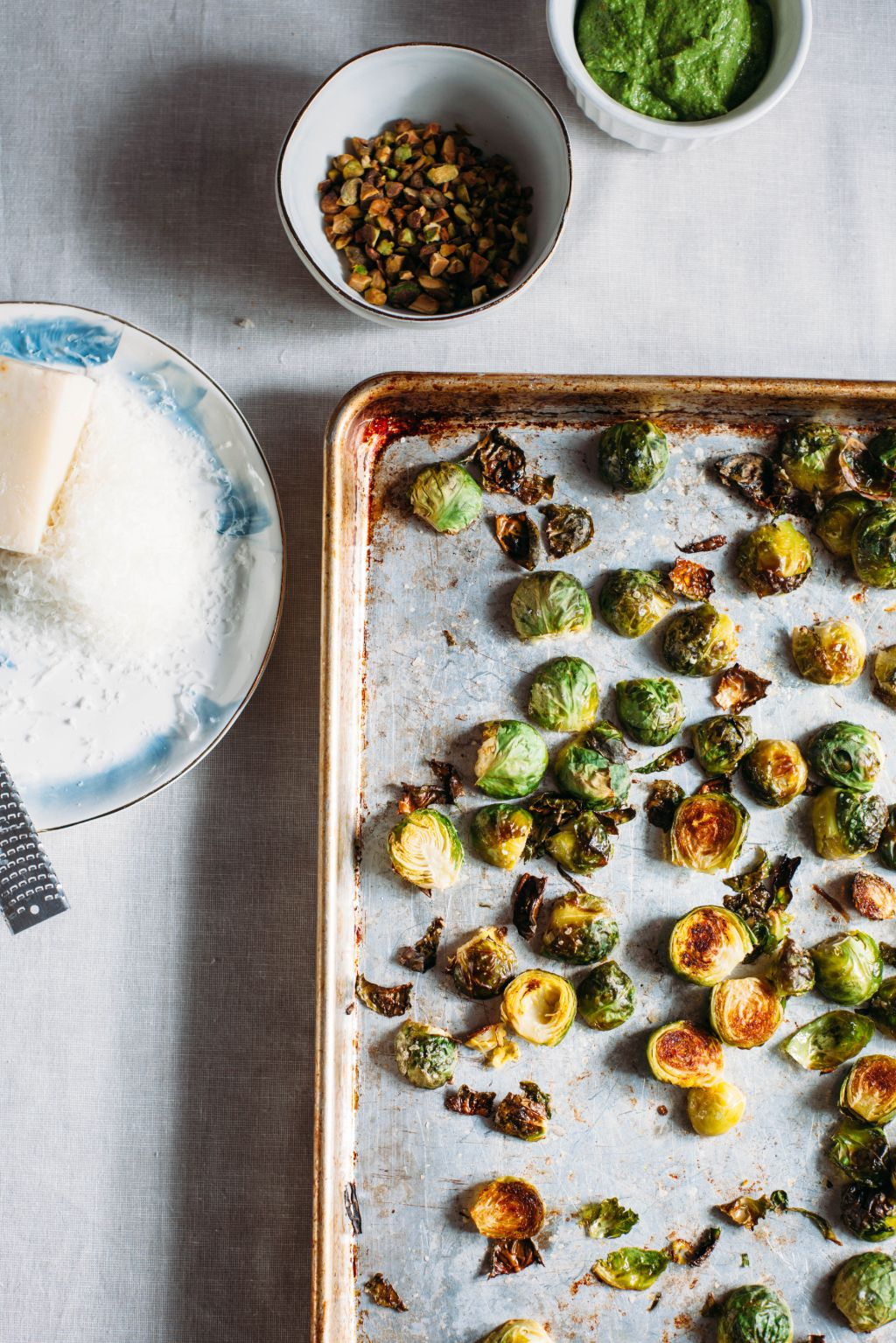 Roasted Brussels Sprouts with Salsa Verde and Pistachio - Tastemaker Blog