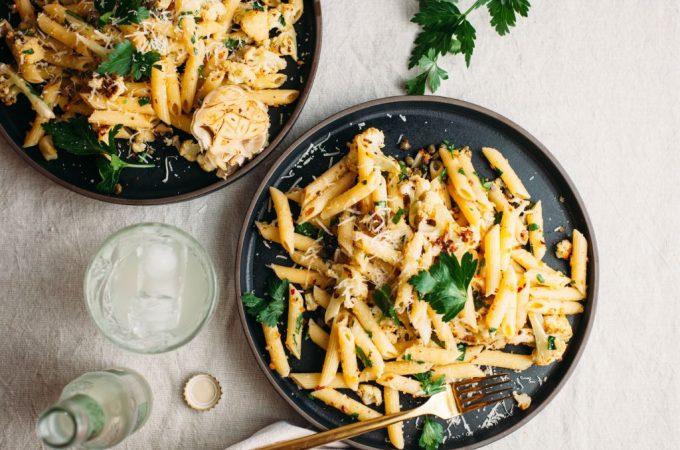 Roasted Cauliflower Piccata Pasta - Tastemaker Blog