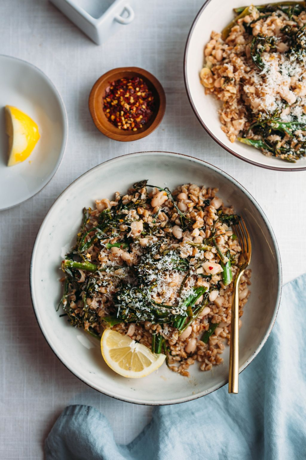 Crispy Parmesan Broccolini and Farro - Tastemaker Blog