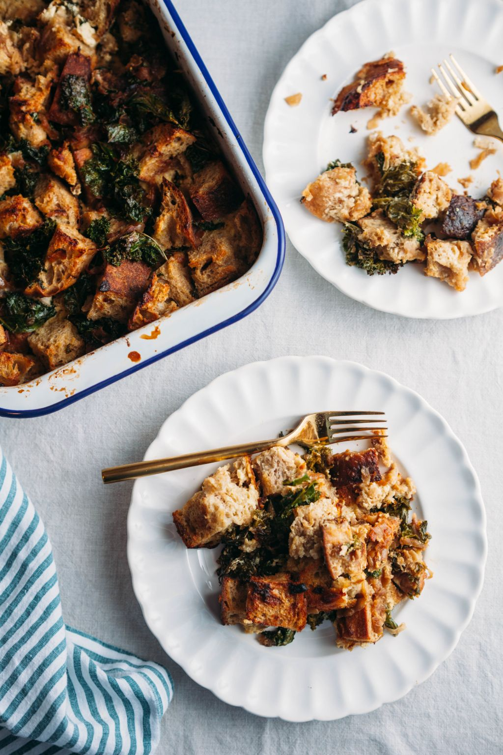 Savory Bread Pudding with Caramelized Onions and Kale - Tastemaker Blog