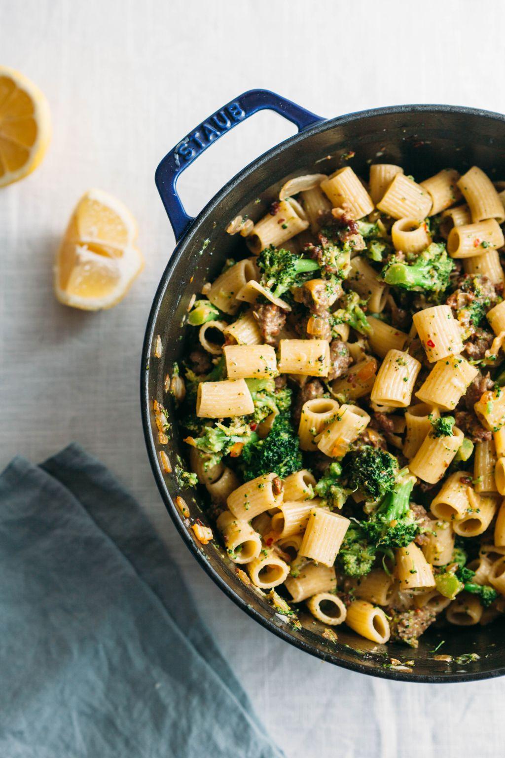 Rigatoni with Broccoli, Lemon, and Sausage - Tastemaker Blog