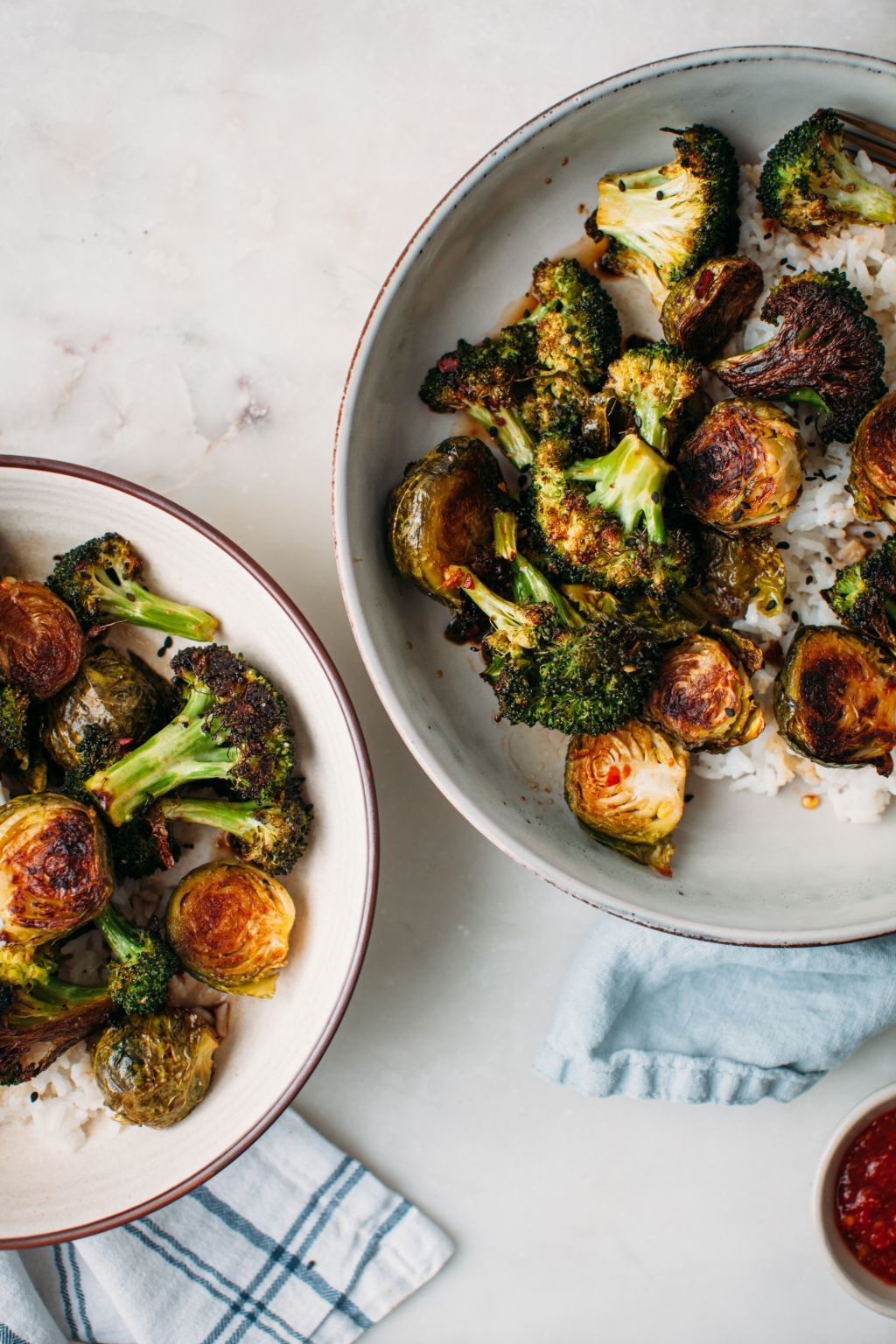 Roasted Broccoli and Brussels Sprouts with Sesame Soy Sauce - Tastemaker Blog