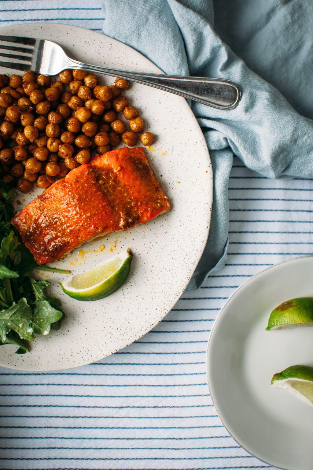 Indian Spiced Salmon and Crispy Chickpeas - Tastemaker Blog