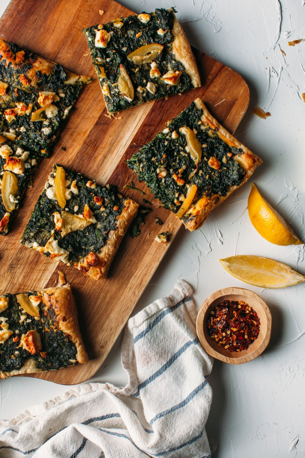 Spinach, Feta, and Preserved Lemon Puff Pastry Pizza - Tastemaker Blog